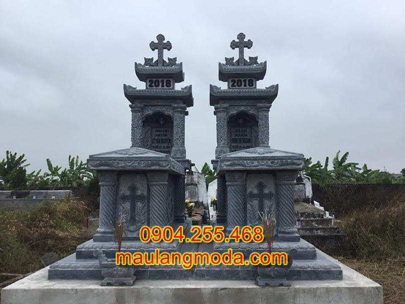 Mẫu mộ đôi công giáo đẹp, Mộ đôi công giáo, Mộ thiên chúa giáo hai đao