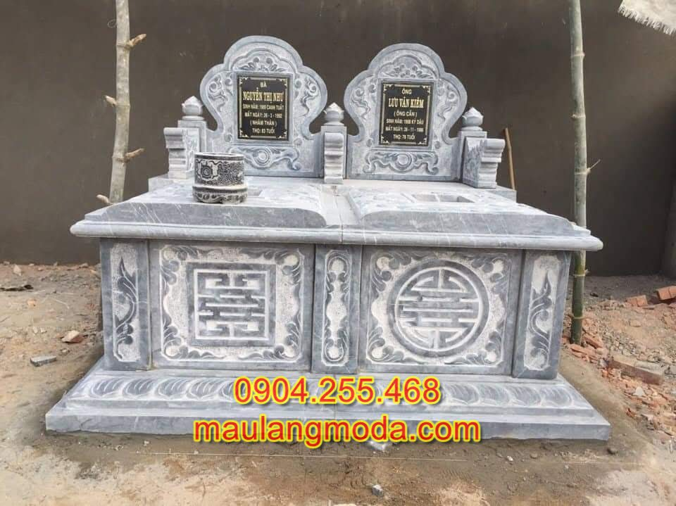 xây mộ đôi kích thước lỗ ban, Mộ đôi phong thủy, Xây mẫu mộ đá đôi đẹp đơn giản 2019-01