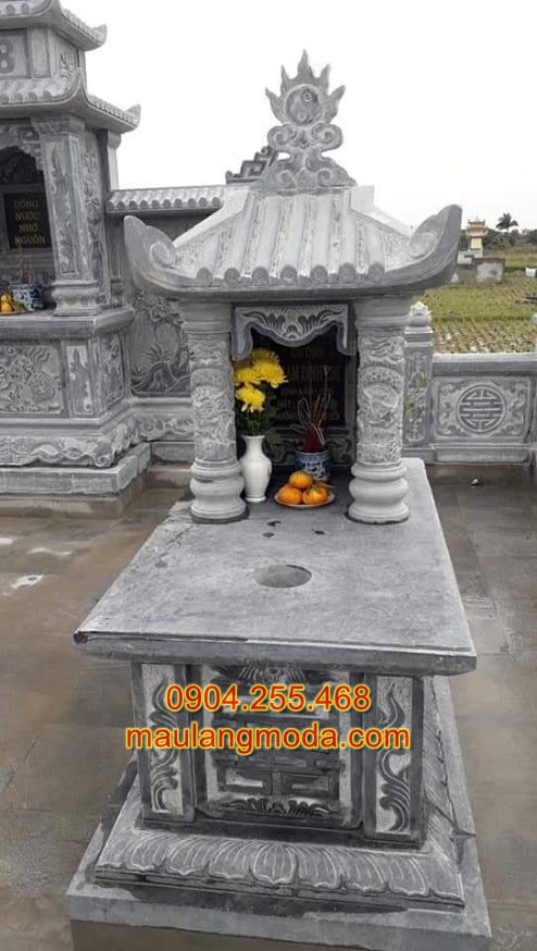 Xây mộ đá chuẩn phong thủy, mẫu mộ một mái
