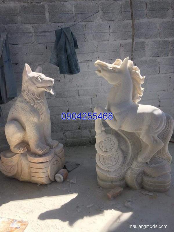 Tượng chó đá linh vật phong thủy đẹp chất lượng tốt giá hợp lý