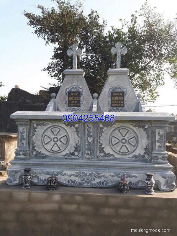 Mộ đá công giáo đẹp hoa văn tinh xảo chất lượng cao giá hợp lý
