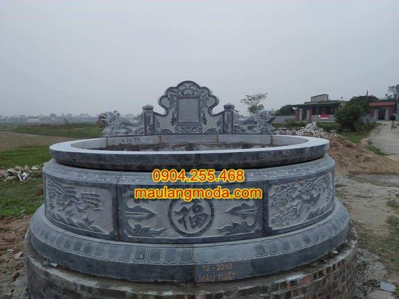 kích thước mộ đá tròn,mẫu mộ tròn đẹp,xây mộ tròn, Kích thước xây mẫu mộ đá tròn đẹp chuẩn phong thủy