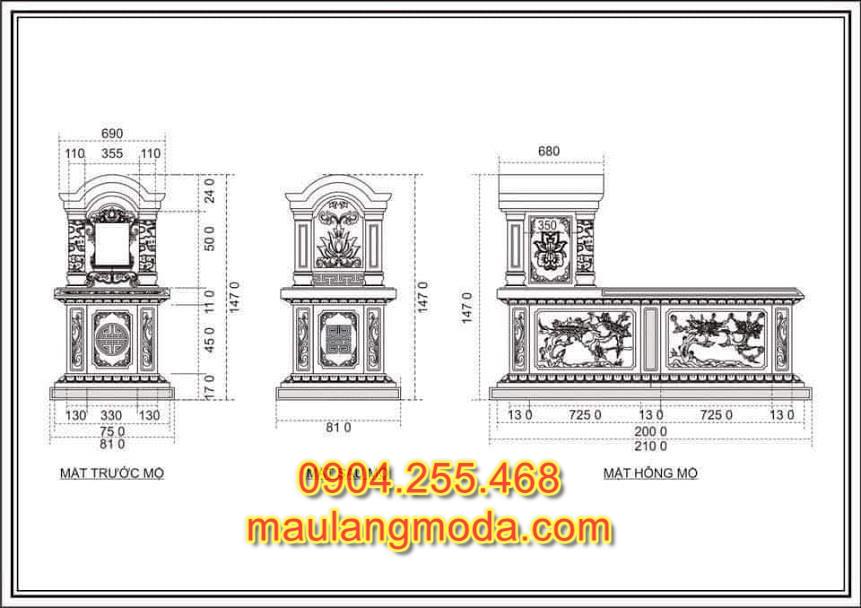 Bản thiết kế chi tiết mộ đá đẹp, bản thiết kế chi tiết lăng mộ đá, bản thiết kế chi tiết mộ đá