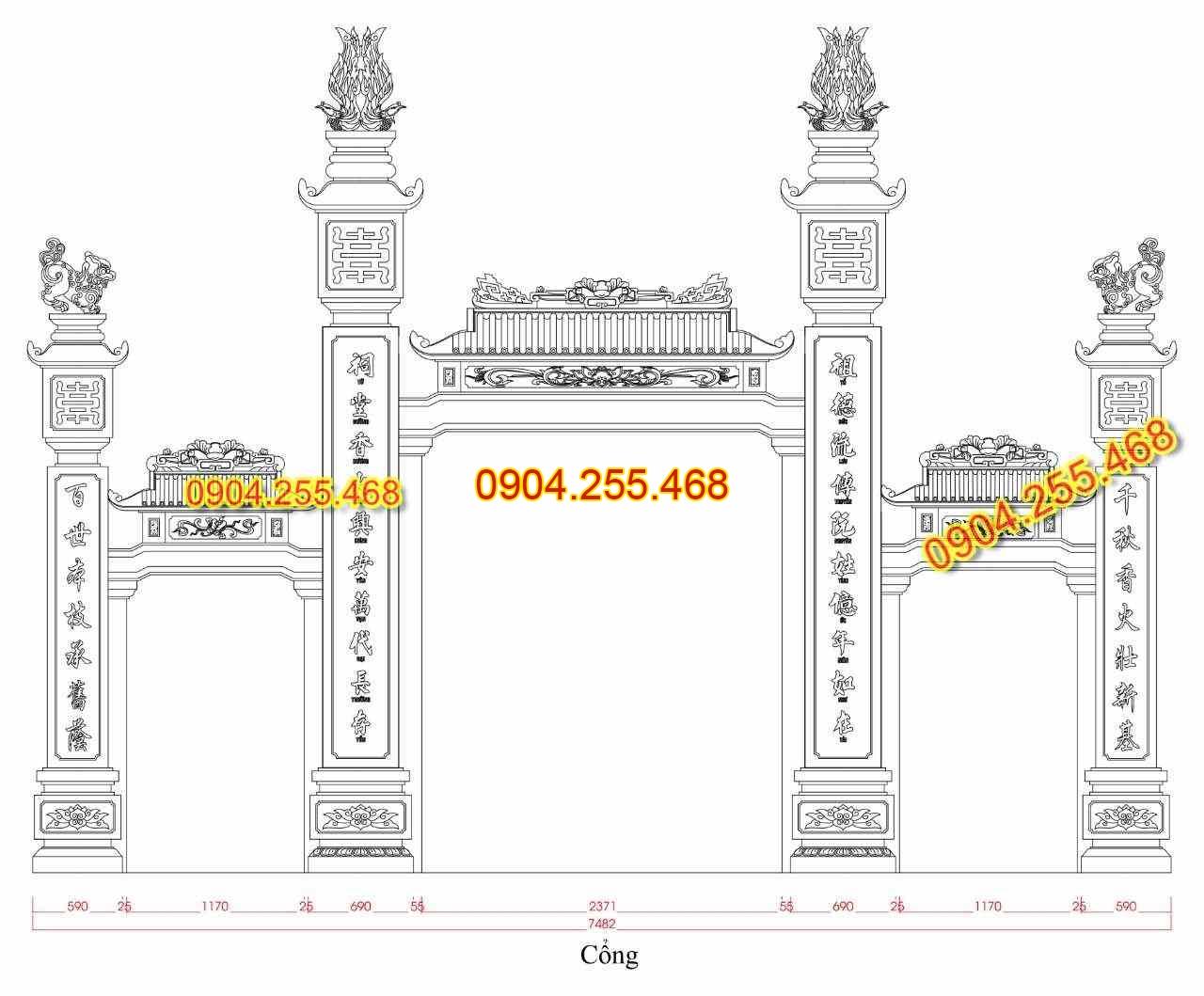 Bản vẽ thiết kế cổng đá tại Hải Phòng, Bản vẽ cổng đá tại Hải Phòng