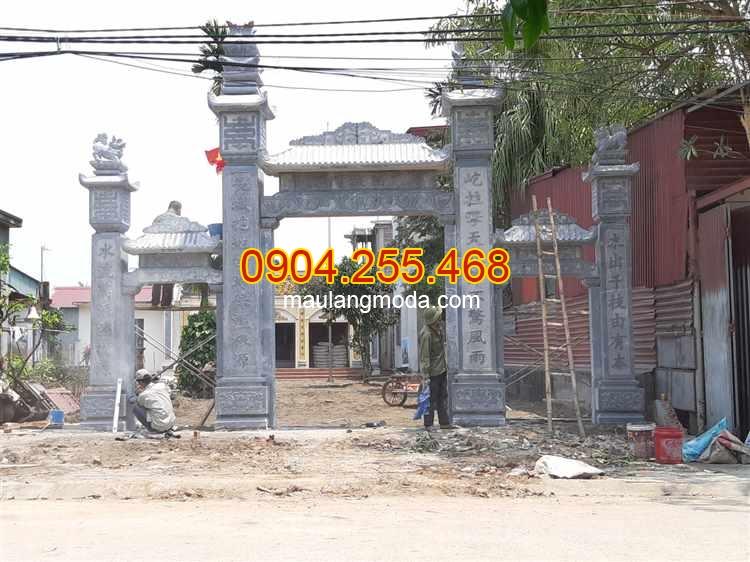 Lắp đặt mẫu cổng nhà thờ họ bằng đá xanh tại Hải Phòng