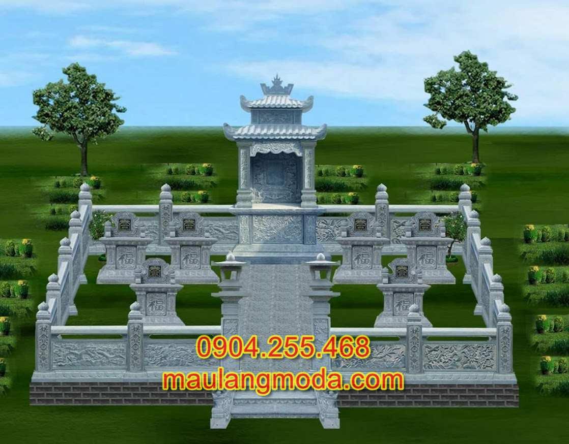 Mẫu bản vẽ thiết kế khu lăng mộ đá dòng họ đẹp, chi tiết mẫu lăng mộ đá đẹp