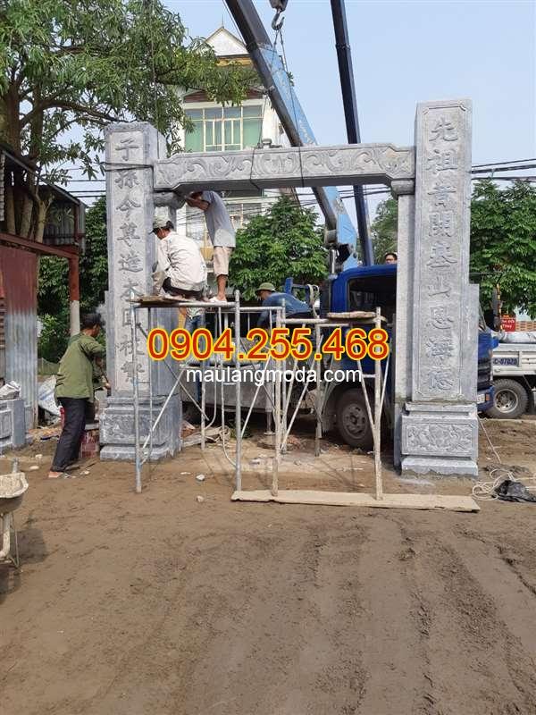 Lắp đặt cổng đá nhà thờ họ tại Vĩnh Bảo Hải Phòng