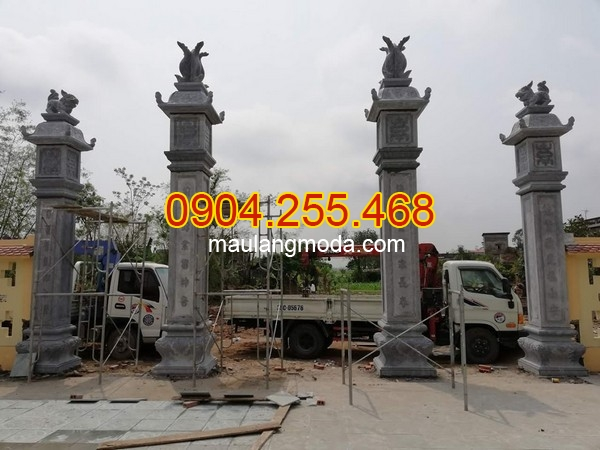 Cổng đá kiểu tứ trụ kích thước chuẩn phong thủy, mẫu cổng đá kiểu tứ trụ kích thước lỗ ban, mẫu cổng đá nhà thờ họ đẹp 2019