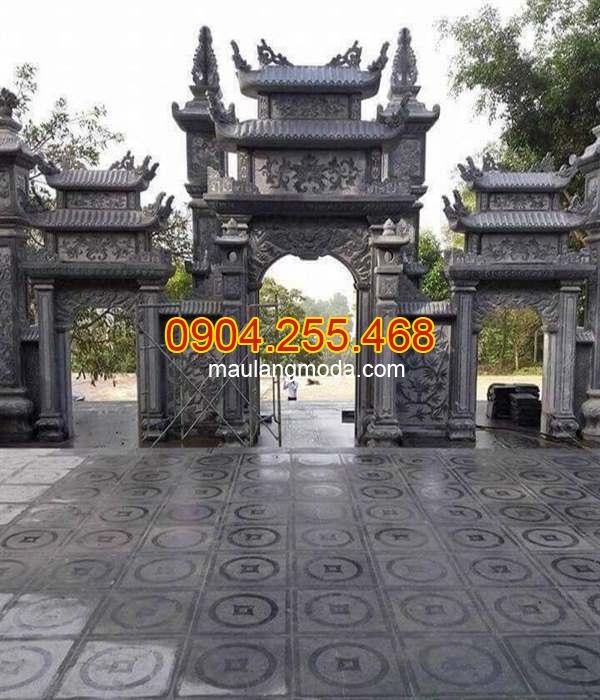 Mẫu cổng chùa bằng đá có mái, mẫu cổng chùa có mái, cổng chùa đẹp có gác