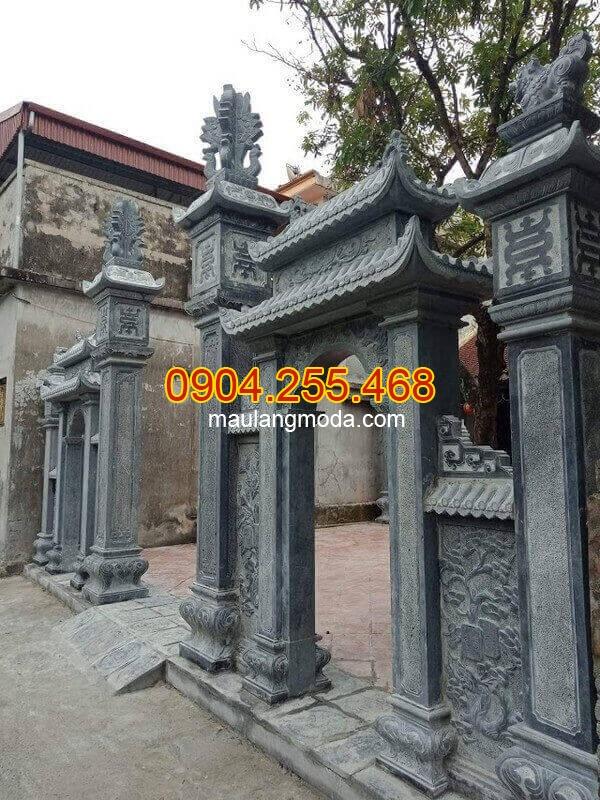 Mẫu cổng đá kích thước chuẩn phong thủy, Mẫu cổng đá nhà thờ họ kiểu có mái