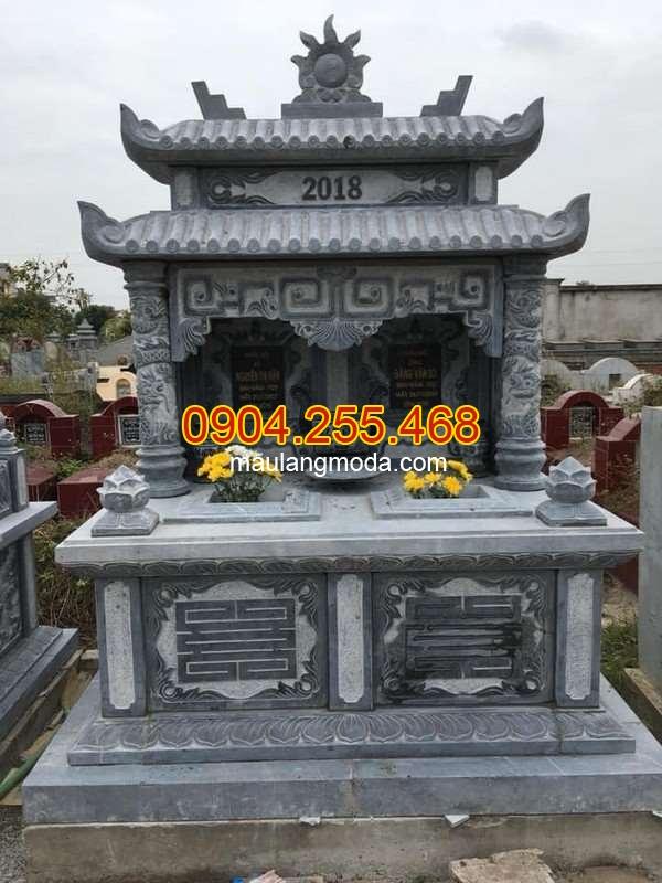 Mẫu mộ đôi hai mái bằng đá xanh kích thước chuẩn phong thủy, Mộ đôi hai mái bằng đá xanh kích thước chuẩn phong thủy