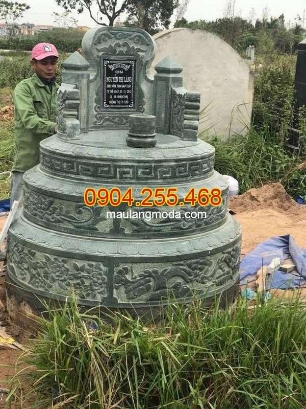 Mẫu mộ tròn bằng đá xanh rêu chuẩn kích thước lỗ ban, Mộ tròn bằng đá xanh rêu chuẩn kích thước lỗ ban