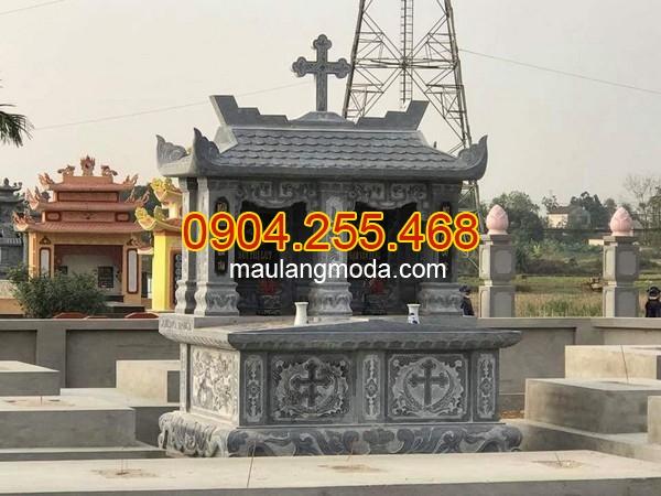 Mộ đôi một mái, op 95 mẫu mộ đá một mái đẹp giá rẻ tại Ninh Bình 02