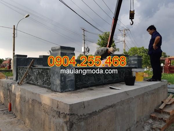 Thi công lắp đặt mộ đá xanh rêu tại Củ Chi, mộ đá xanh rêu, mộ đôi bằng đá xanh rêu