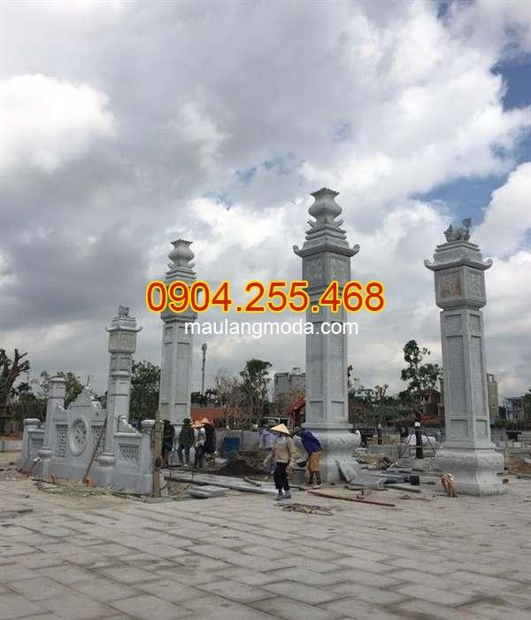 Mẫu cổng chùa bằng đá kiểu tứ trụ đẹp, cổng chùa bằng đá đẹp, cổng chùa kiểu tứ trụ