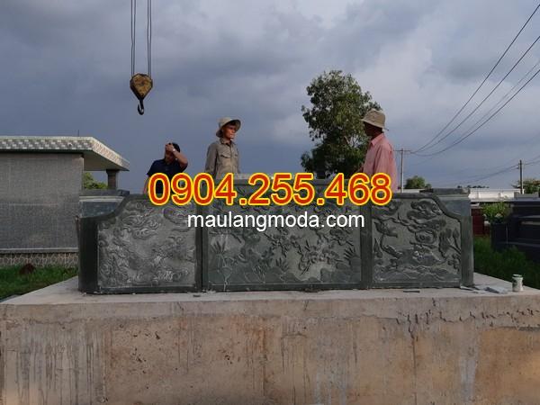 Xây dựng mộ đá đẹp tại Củ Chi,Lắp đặt mộ đôi đẹp bằng đá xanh rêu tại Củ Chi Thành phố Hồ Chí Minh 01