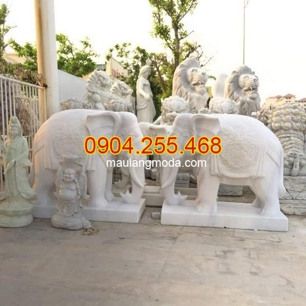 Mẫu voi đá đẹp,Tượng voi đá phong thủy trong văn hóa người Việt, mẫu voi đá trước nhà, voi đá trước biệt thự, voi bằng đá trắng