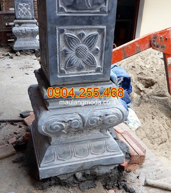 Cột đá, chân cột đá, lan can đá, bậc thềm đá tại An Giang