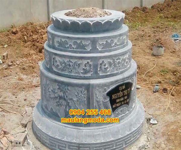 Mẫu mộ hình tròn bằng đá tự nhiên nguyên khối cao cấp