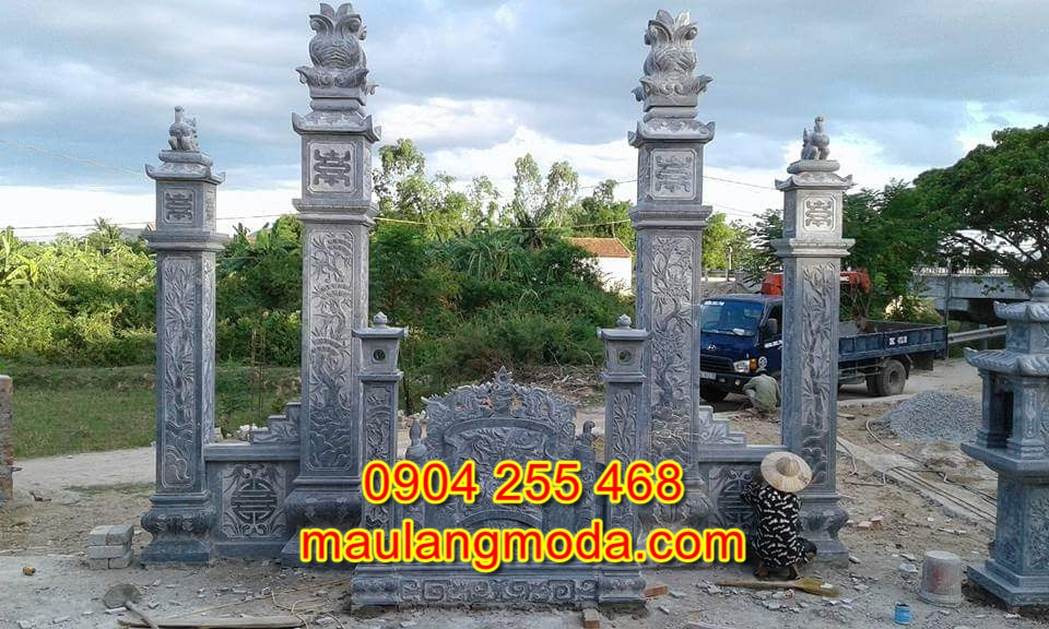 cổng đá nhà thờ họ đẹp đơn giản CD14