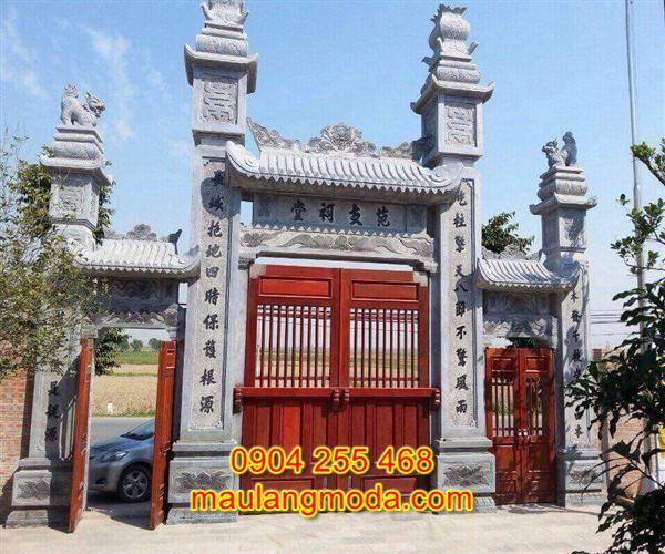Mẫu cổng tam quan đền chùa đẹp bằng đá tự nhiên CD1