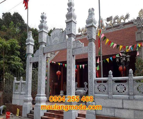 Mẫu cổng tam quan đền chùa đẹp bằng đá tự nhiên CD2