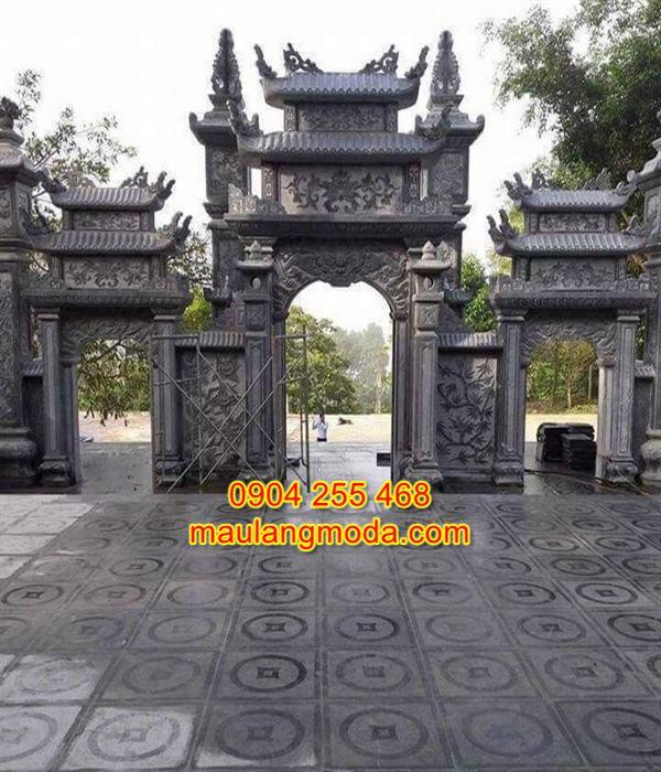 Mẫu cổng tam quan đền chùa đẹp bằng đá tự nhiên CD3