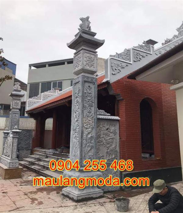 Mẫu cột đồng trụ nhà thờ họ bằng đá xanh đẹp DT2
