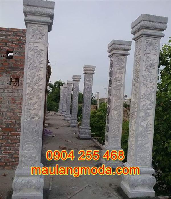 Mẫu cột đồng trụ nhà thờ họ bằng đá xanh đẹp DT4