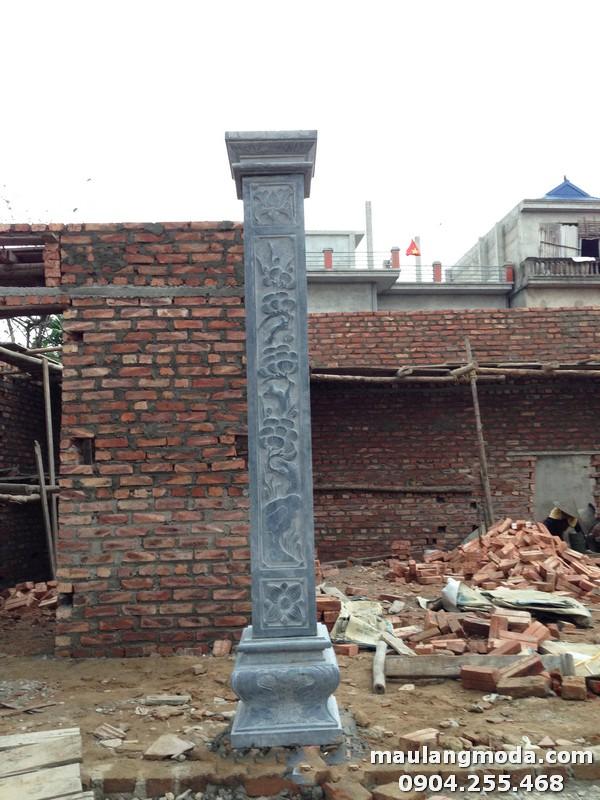 Mẫu cột đồng trụ nhà từ đường đươc chạm khắc hoa văn họa tiết tinh xảo