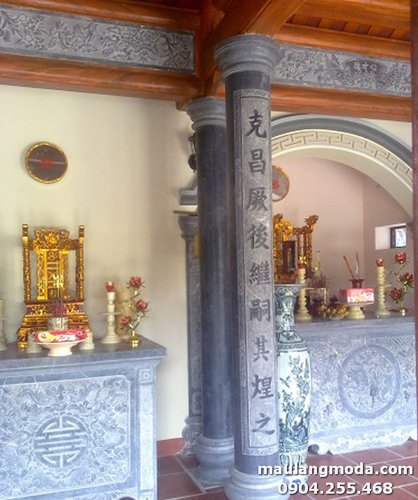 Mẫu cột đồng trụ nhà thờ họ thiết kế đơn giản