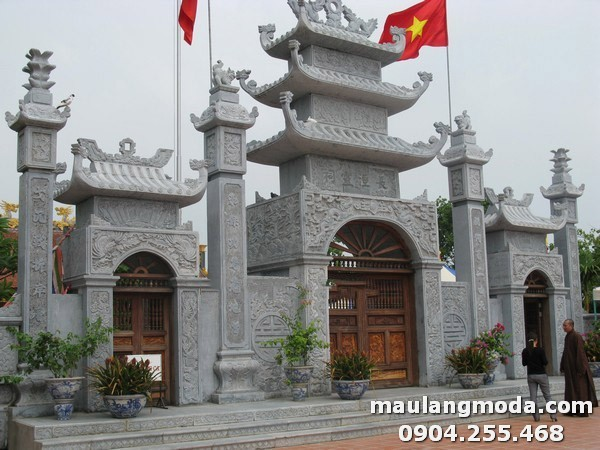 Mẫu cổng đền bằng đá được chạm khắc hoa văn tinh xảo