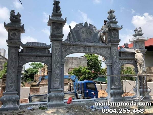 Hình ảnh xây dựng cổng nhà thờ họ từ đá xanh cao cấp