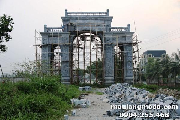 Công trình xây dựng mẫu cổng làng làm từ đá xanh cao cấp