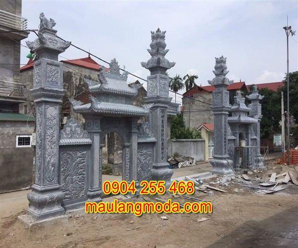 Xây mẫu cổng làng bằng đá xanh đen thanh hóa 01