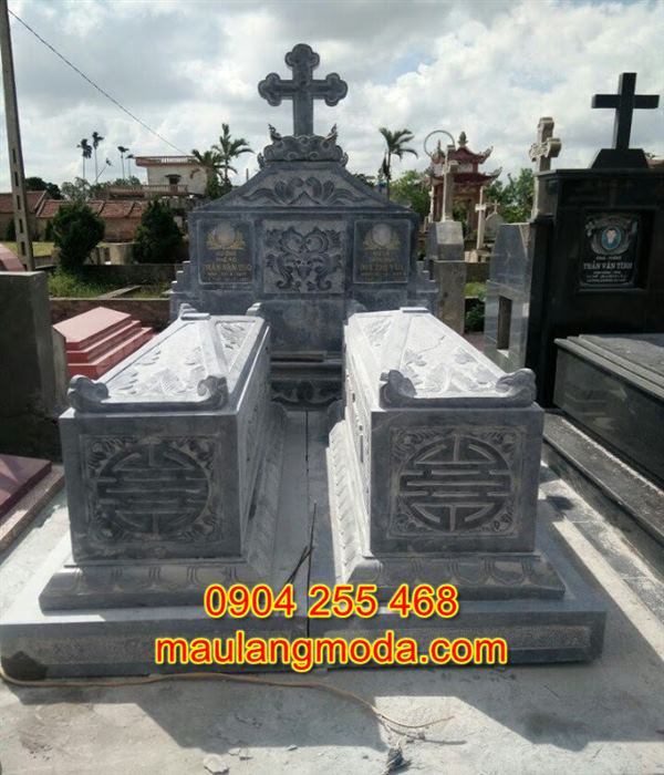 Mẫu mộ đôi bằng đá tự nhiên đẹp giá rẻ nhất tại Ninh Bình 04