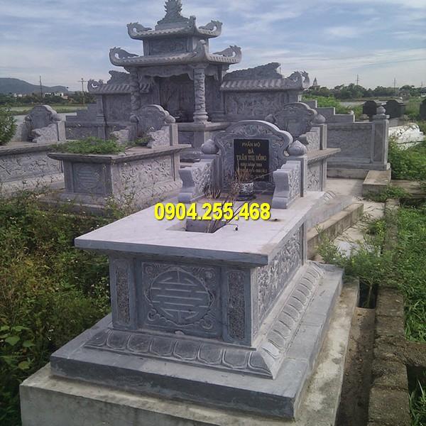 Hình ảnh mộ tam sơn bằng đá xanh tự nhiên nguyên khối chất lượng cao