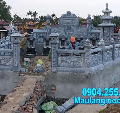 Mẫu khu lăng mộ gia đình đẹp bằng đá thiết kế chuẩn phong thủy