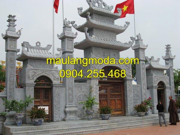 Cổng chùa, cổng làng, cổng đình - Mẫu cổng tam quan đá xanh