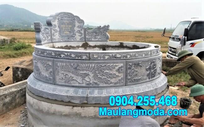Mẫu mộ tròn đẹp bằng đá kích thước chuẩn phong thủy