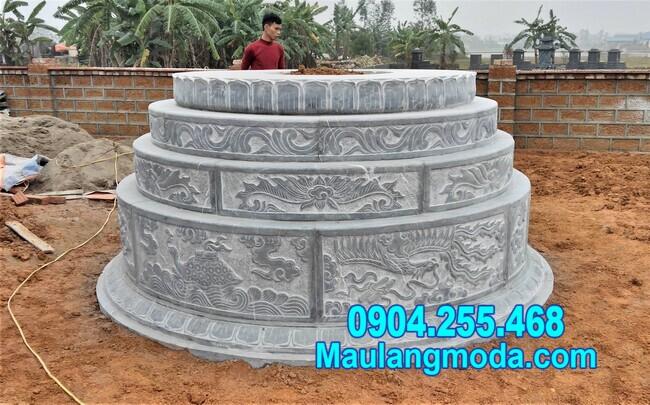 mộ tròn đẹp bằng đá kích thước chuẩn phong thủy