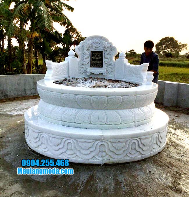 mộ tròn đẹp bằng đá trắng
