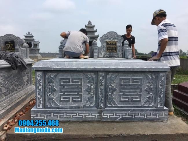 mẫu mộ đá đôi đẹp tại Bắc Ninh